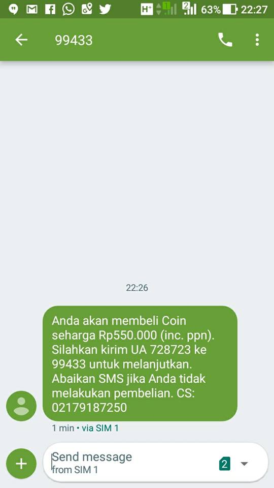 sms penipuan beli coin