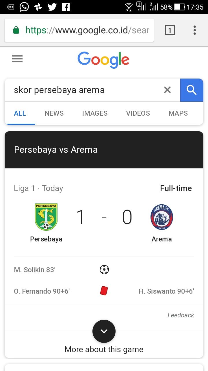 persebaya vs arema 6 mei 2018