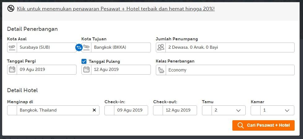 form pesan hotel dan pesawat